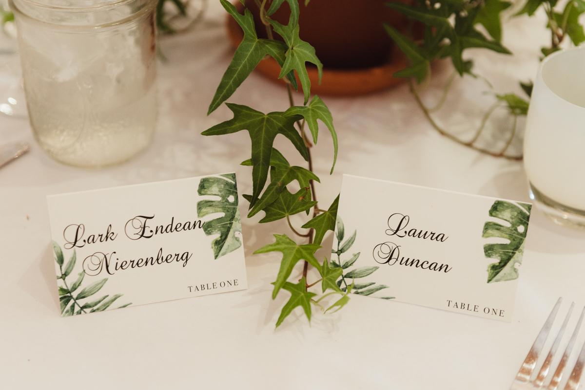 uc berkeley garden wedding couple's nameplates on table