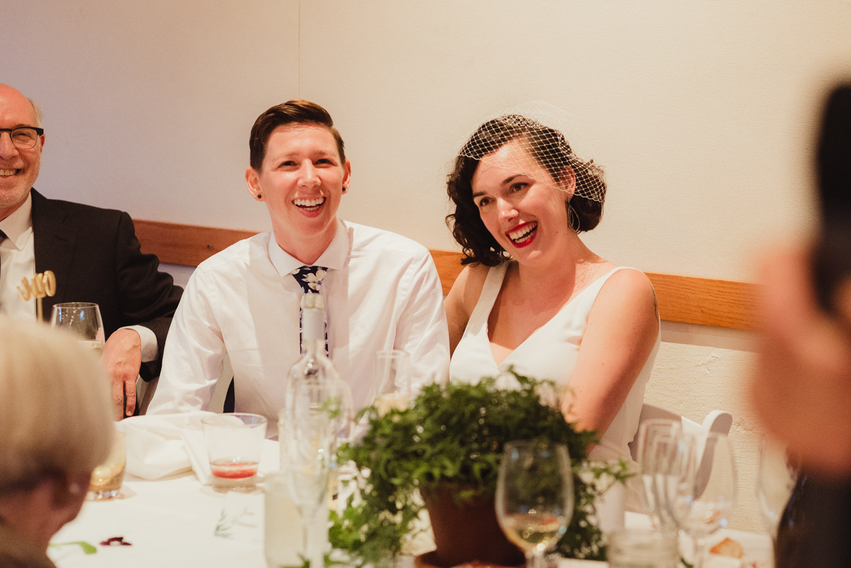 uc berkeley garden wedding couple at table