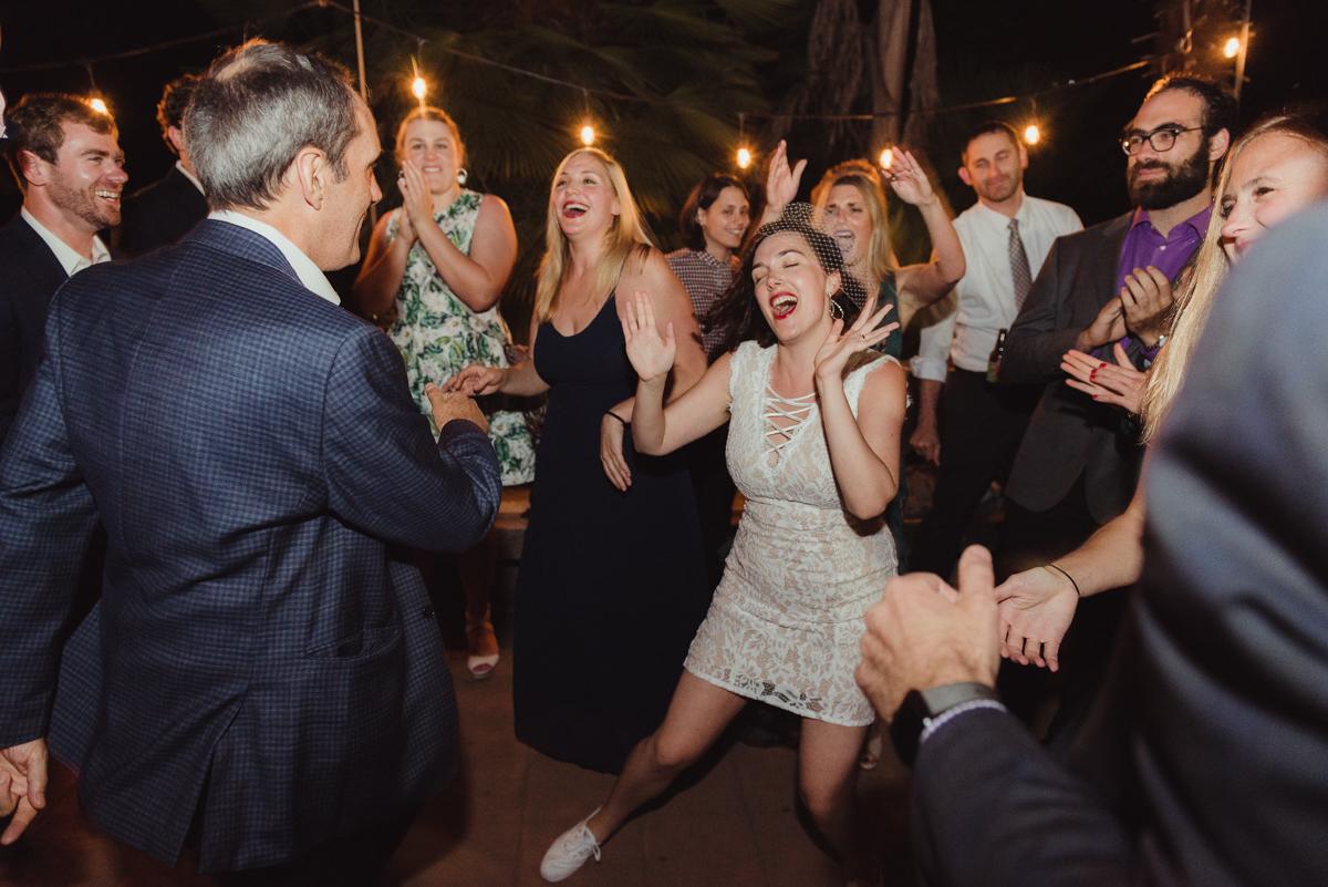 uc berkeley garden wedding laura and guests dancing