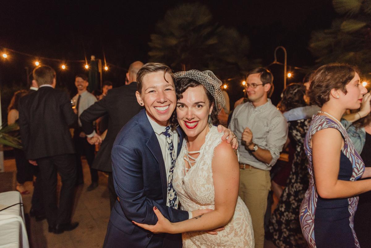 uc berkeley garden wedding lark and laura smiling for camera
