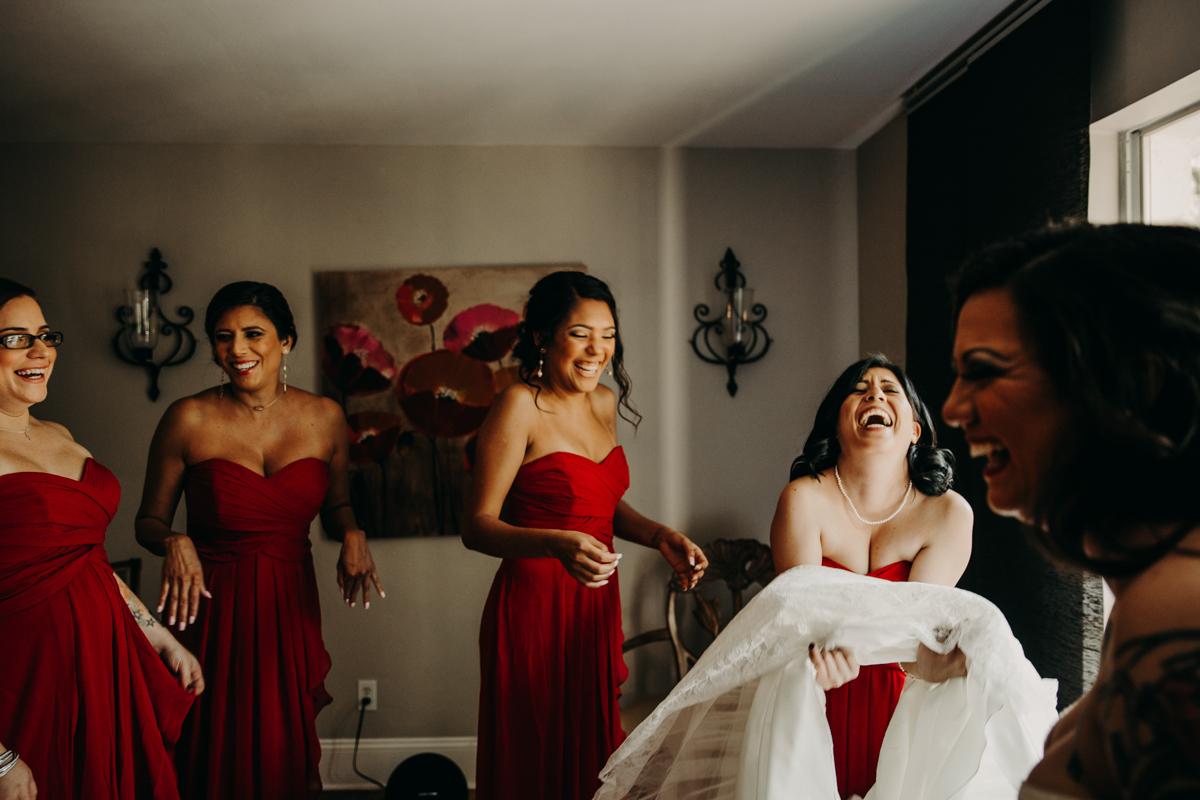 San antonio garden wedding bride and bridesmaids laughing