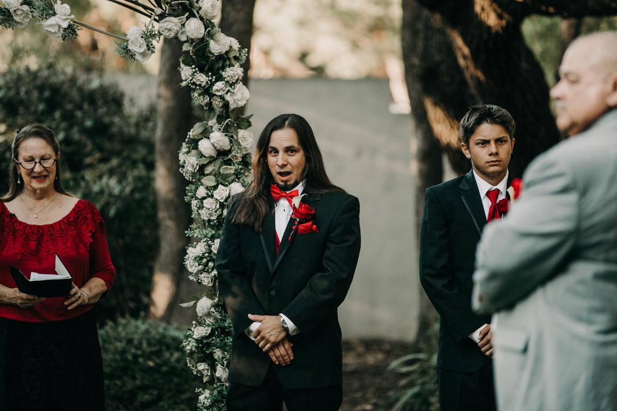 San antonio garden wedding mykel at altar