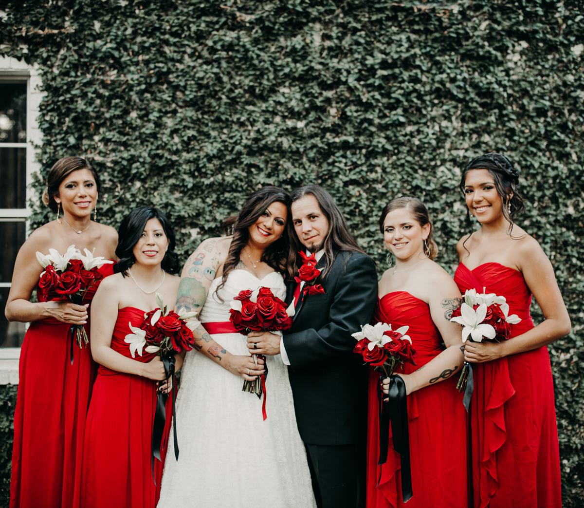 San antonio garden wedding bride and groom with bridesmaids