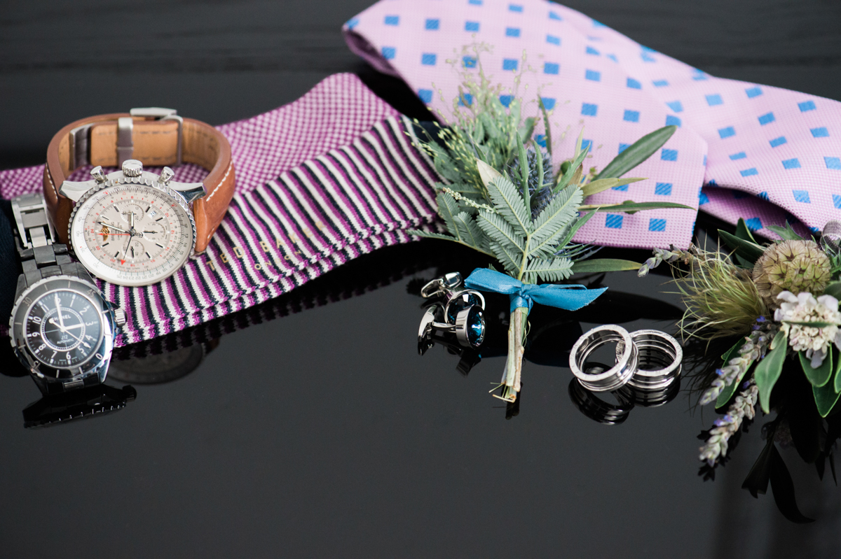 San Diego Museum of Art Wedding grooms' accessories on table