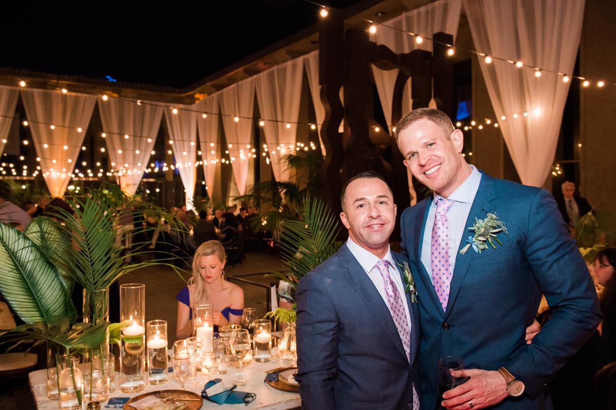San Diego Museum of Art Wedding couple posing at reception
