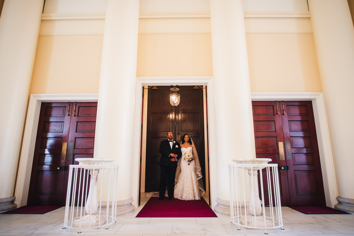 mount vernon ballroom wedding bride and father entering ceremony