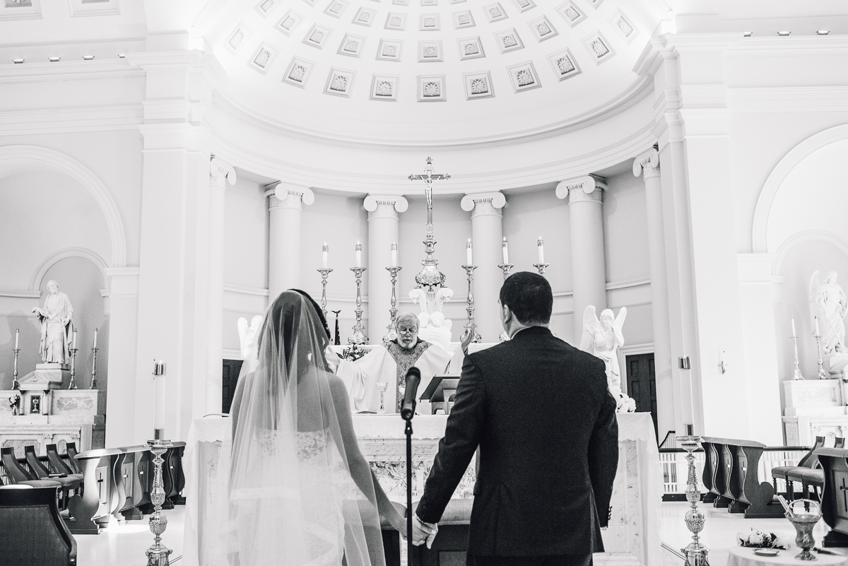 mount vernon ballroom wedding couple holding hands ceremony