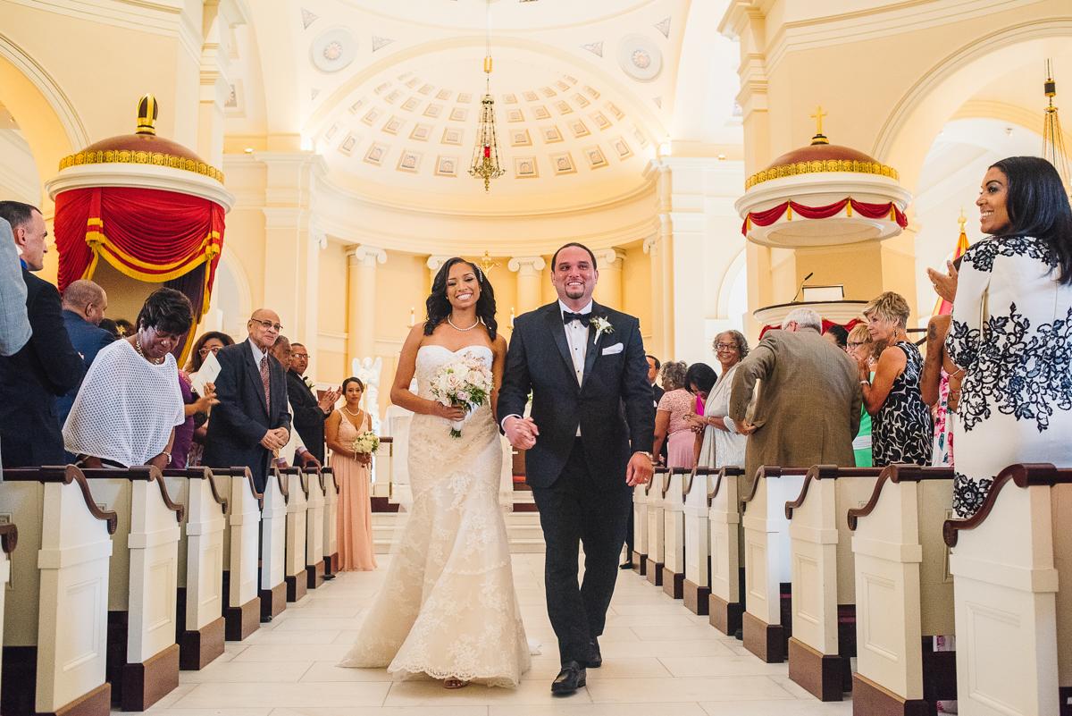 mount vernon ballroom wedding newly married couple leaving ceremony