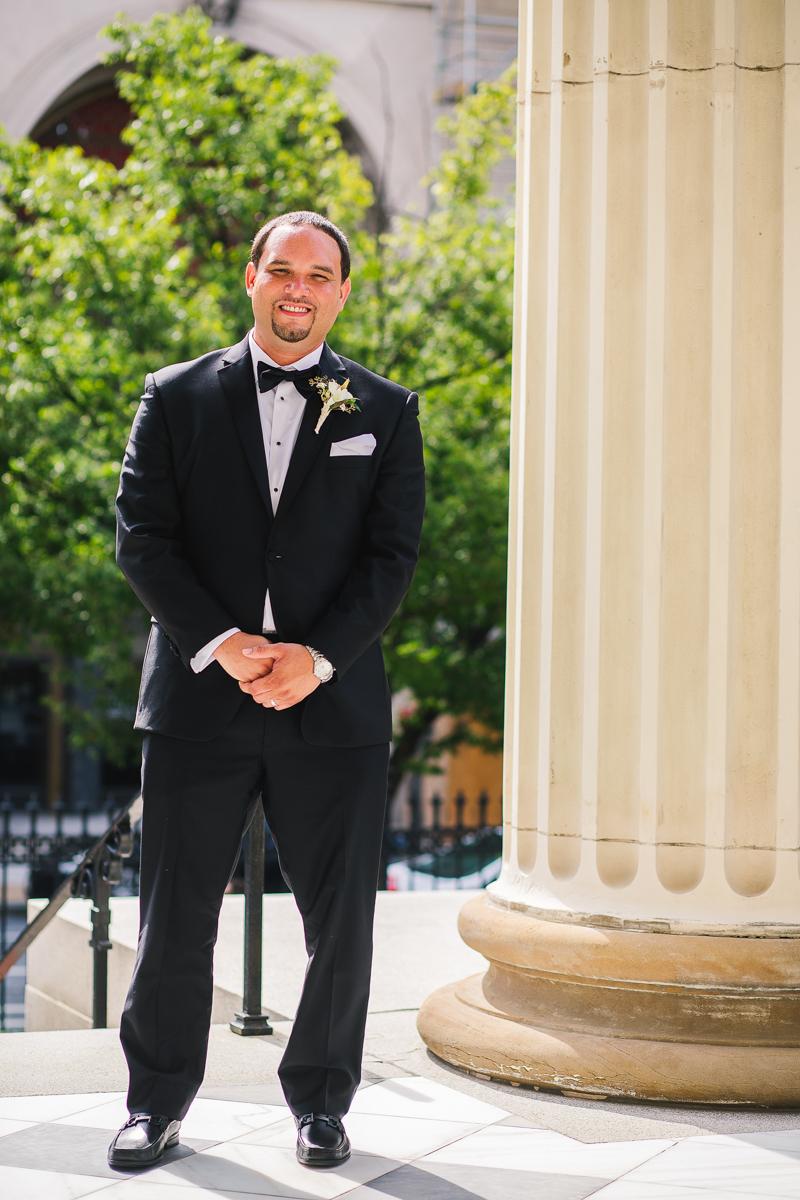 mount vernon ballroom wedding groom posing