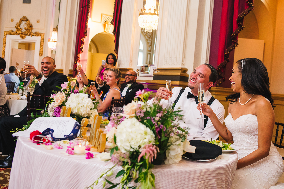 mount vernon ballroom wedding champagne glasses raised