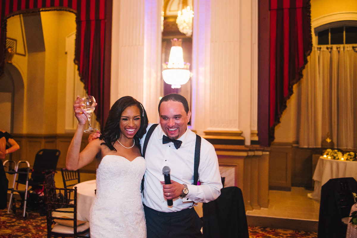 mount vernon ballroom wedding couple with microphone making announcement
