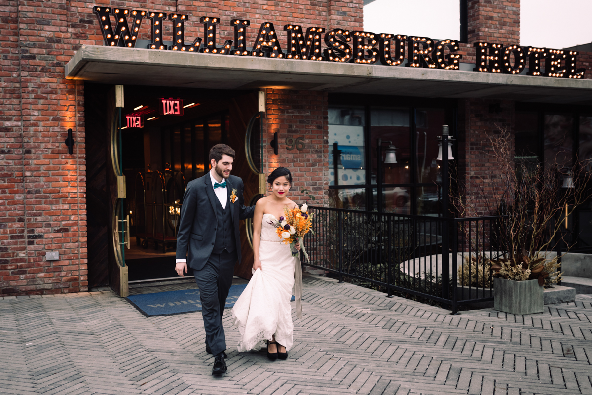 williamsburg hotel wedding shoot couple leaving hotel