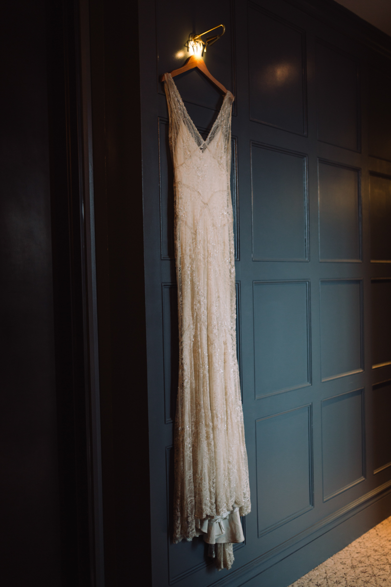 williamsburg hotel wedding shoot hanging dress