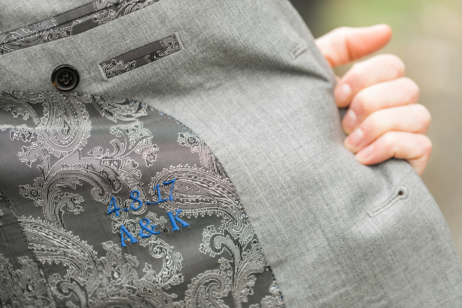 ARIN AND KATIE DOWNTOWN SEATTLE WEDDING DATE AND INITIALS EMBROIDERED INSIDE ARIN'S JACKET