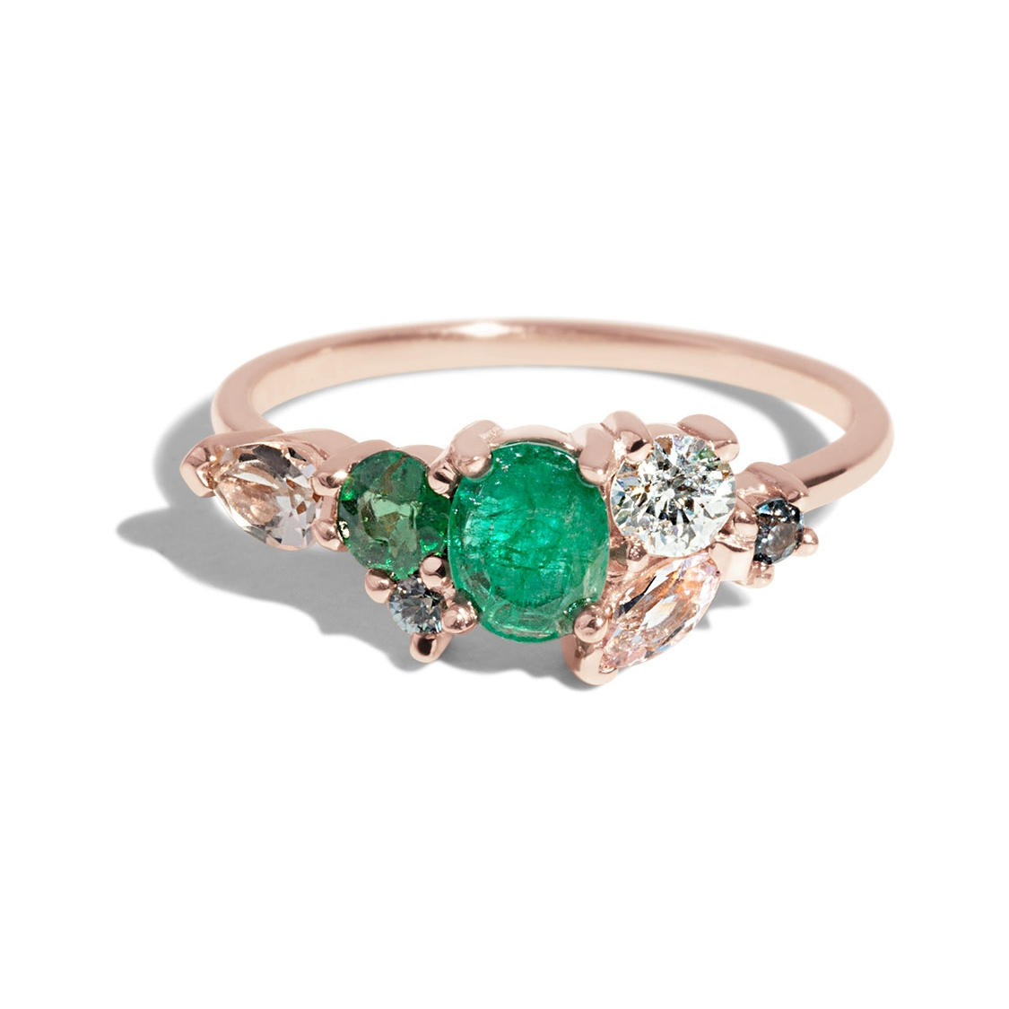 Bario Neal Custom Heirloom Emerald and Morganite Cluster Ring