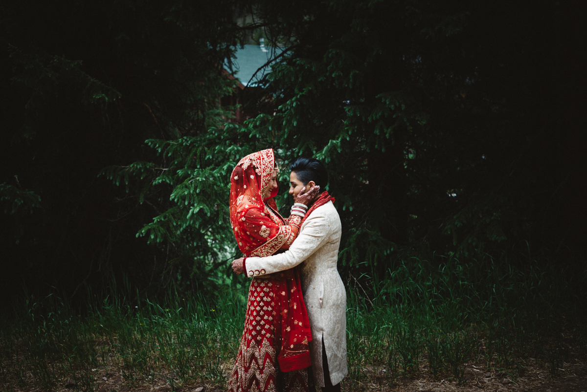 Denver Same-Sex Indian Wedding first look embrace