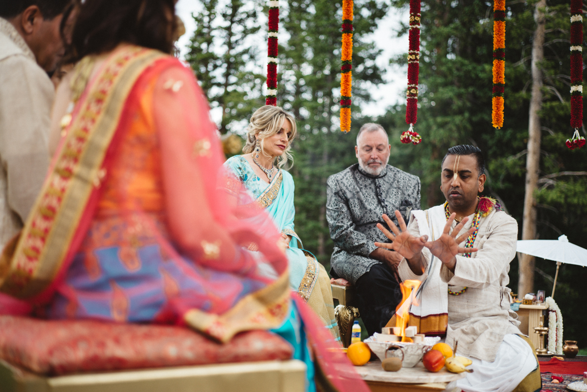 Denver Same-Sex Indian Wedding pundit during ceremony