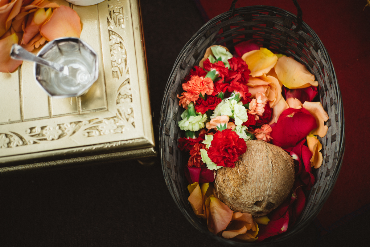 Denver Same-Sex Indian Wedding basket with coconut and flowers inside
