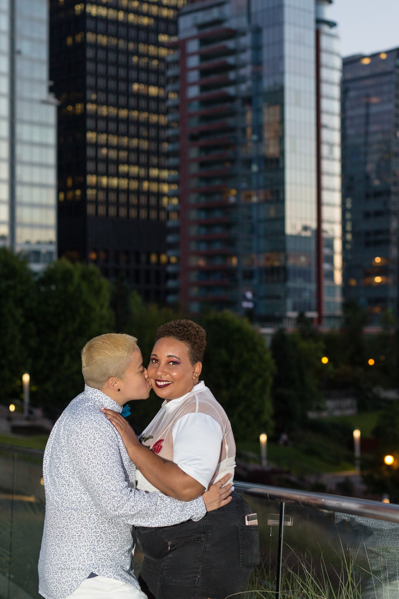 """vancouver """"just-because"""" photo shoot ace kissing cicely-belle's cheek on a bridge"""