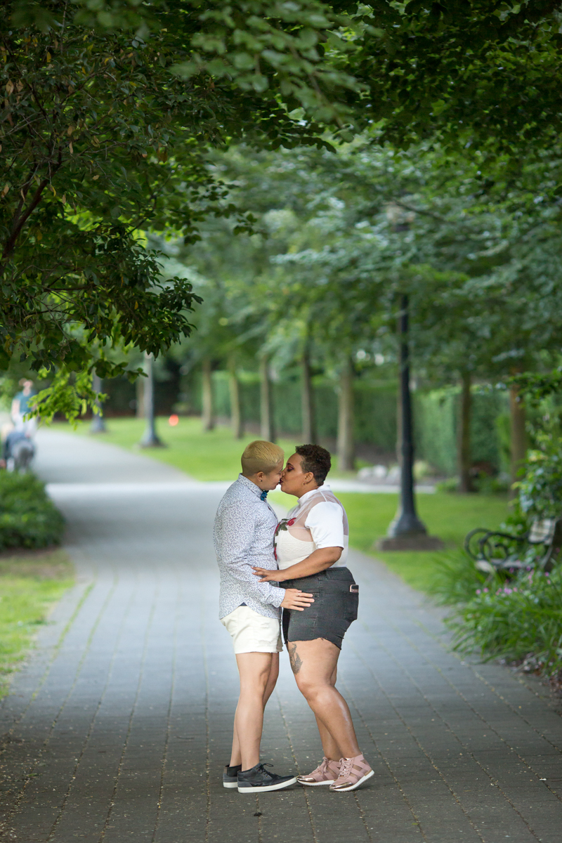 """vancouver """"just because"""" photo shoot kiss on park path"""