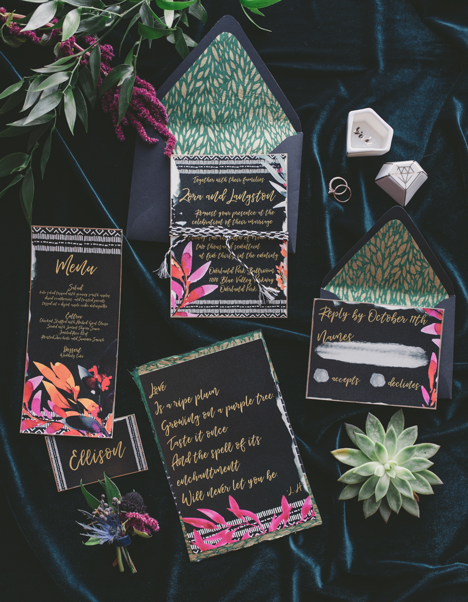 we are young worth the wait studios invitation, menu, name card, and handwritten vows on velvet backdrop