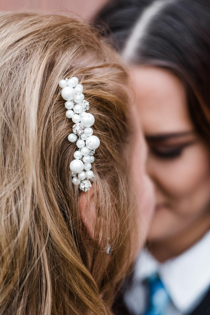 Rustic italian wedding candess's pearl and diamond hair pin