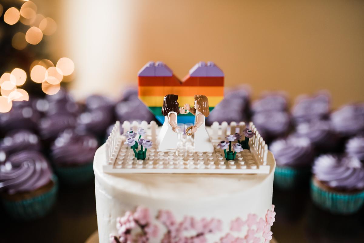 Rustic italian wedding lego cake topper: rainbow heart and bride figures