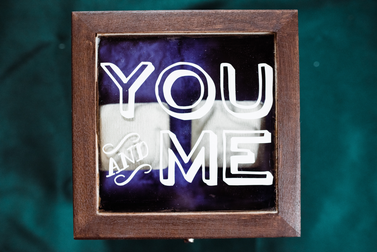 "Rustic italian wedding box with glass lid reading ""you and me"""