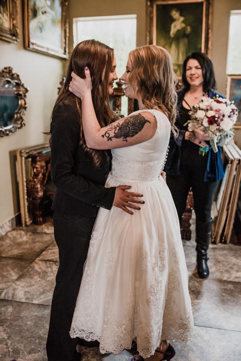 Rustic italian wedding just before kiss at altar