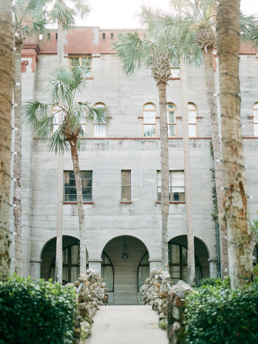 Saint augustine wedding outdoor museum path through palm tree garden