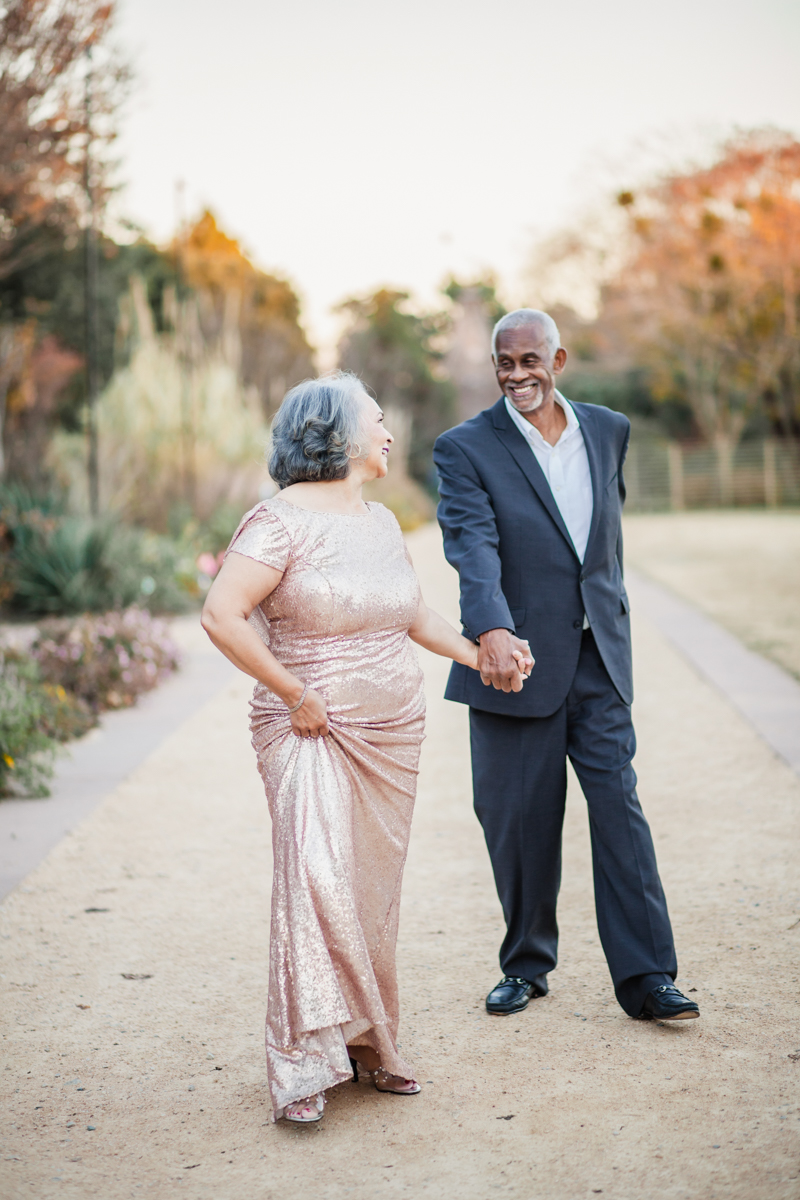 47 years of amazing photo shoot amber robinson walking down path smiling at each other
