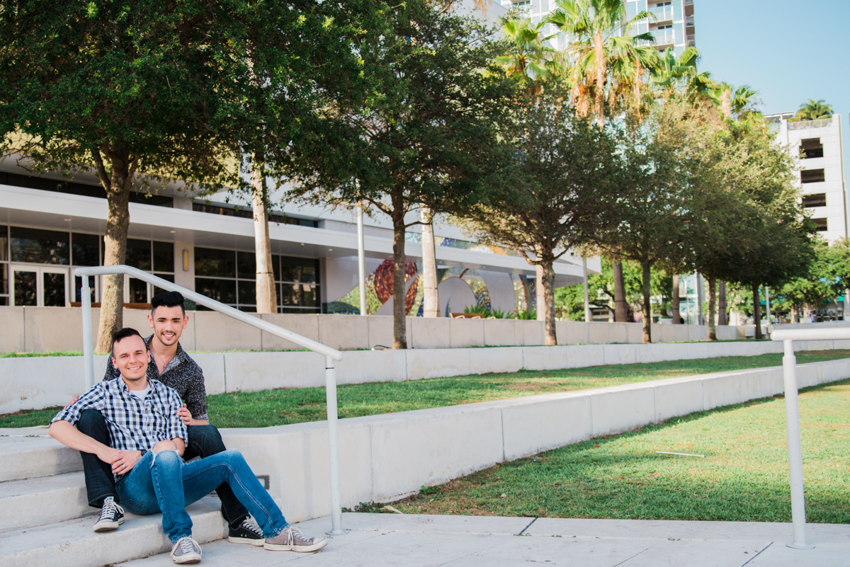 downtown tampa engagement michael and nicholas on steps