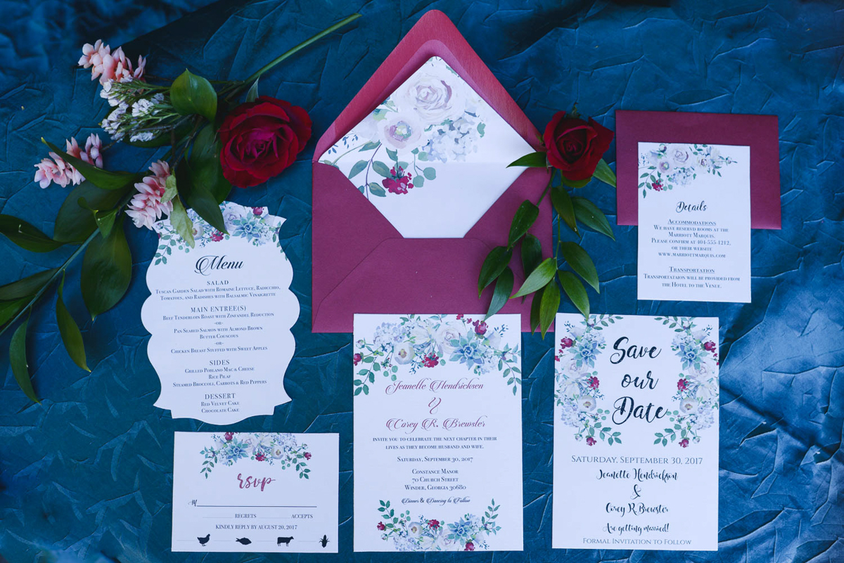 B ohemian Styled Shoot layout of invitations and paper goods
