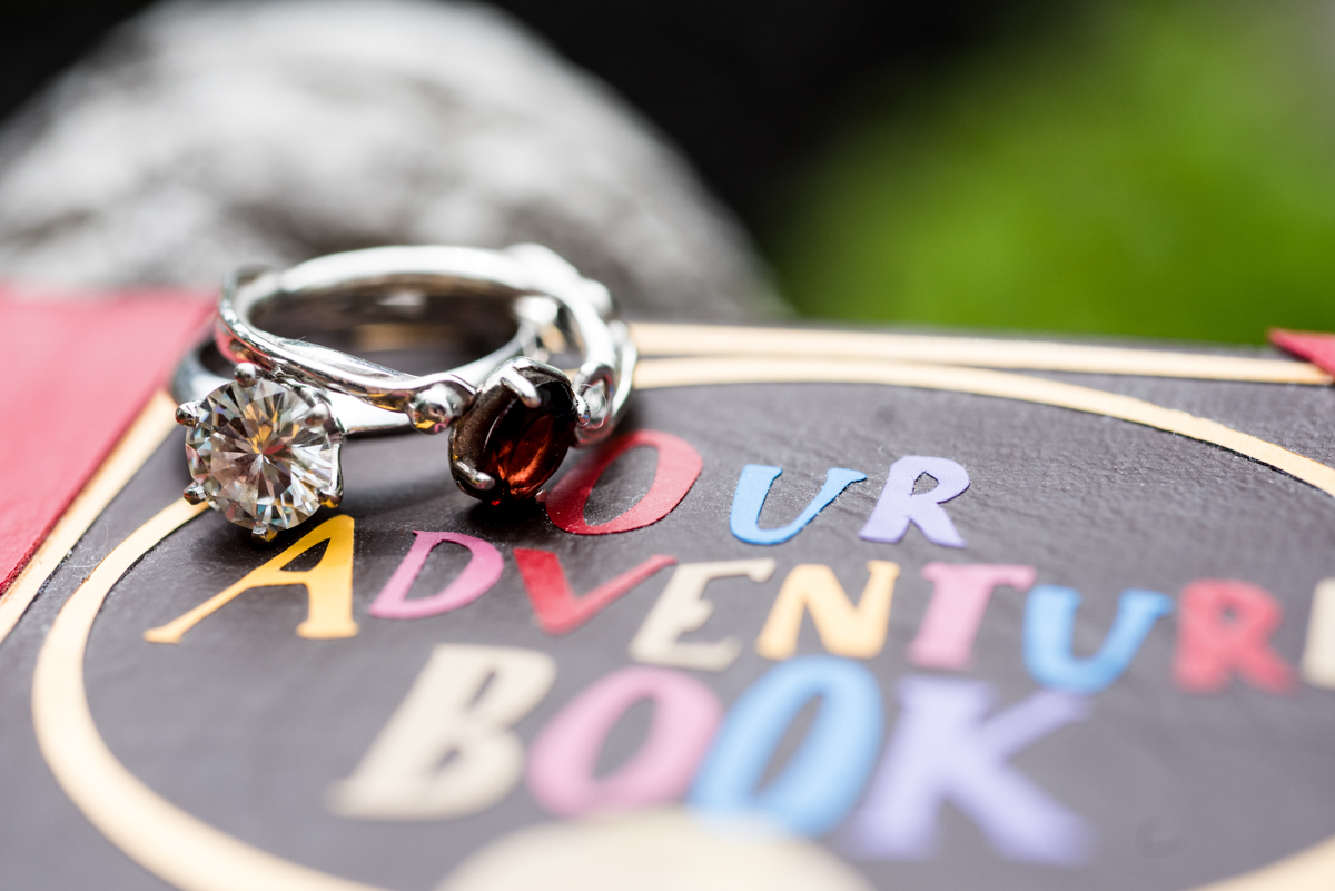 saratoga springs wedding engagement rings resting on adventure book