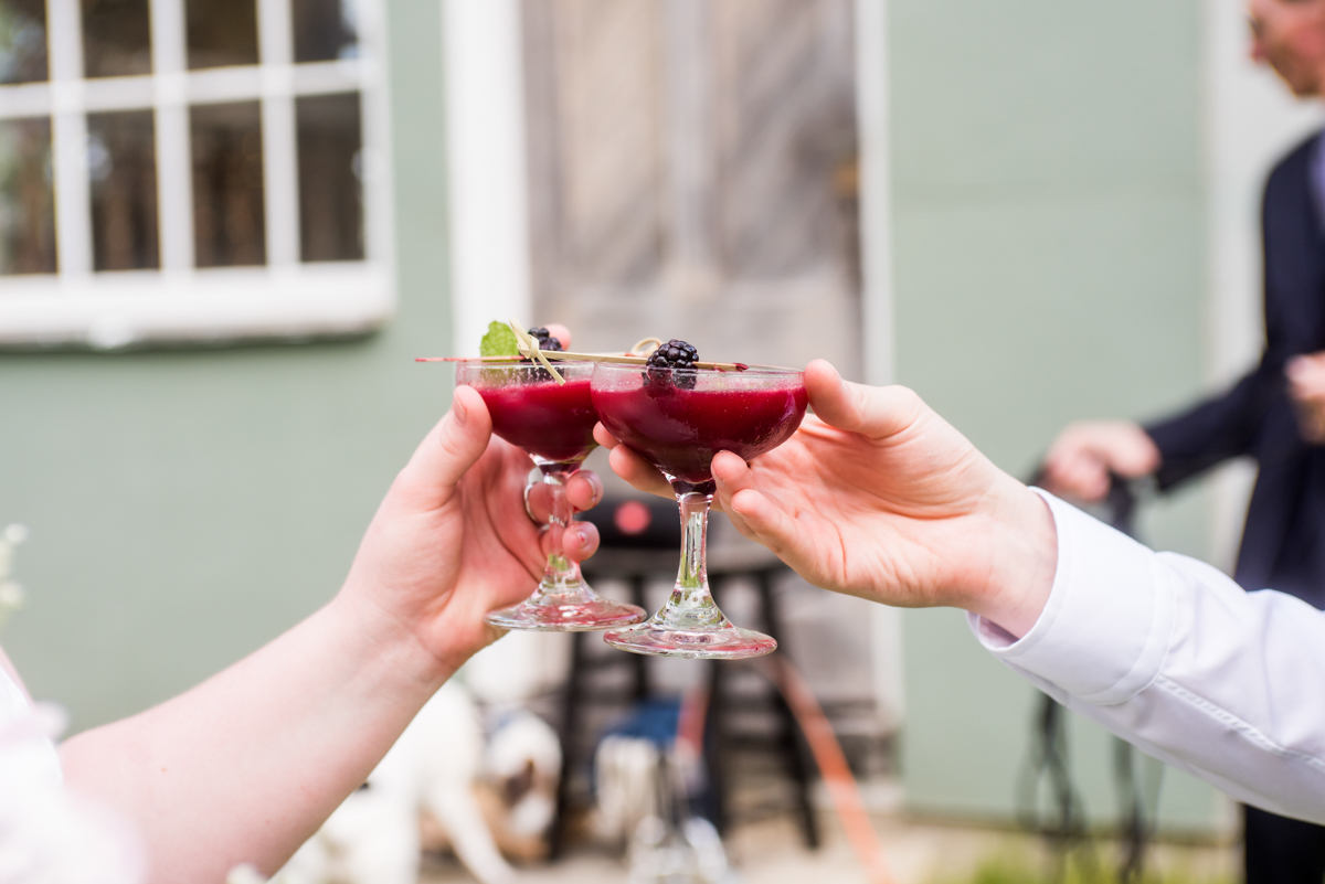 saratoga springs wedding toasting with glasses of fruity cocktail