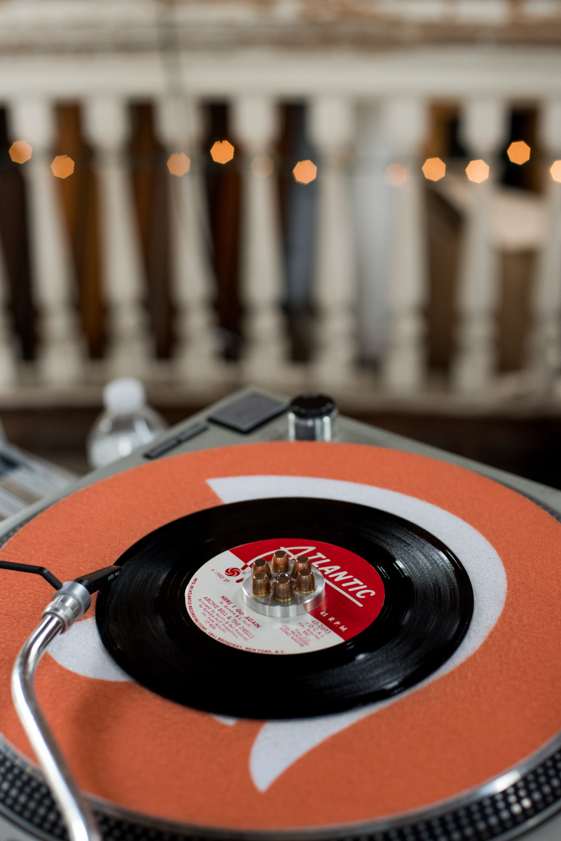 saratoga springs wedding '45 playing on record player