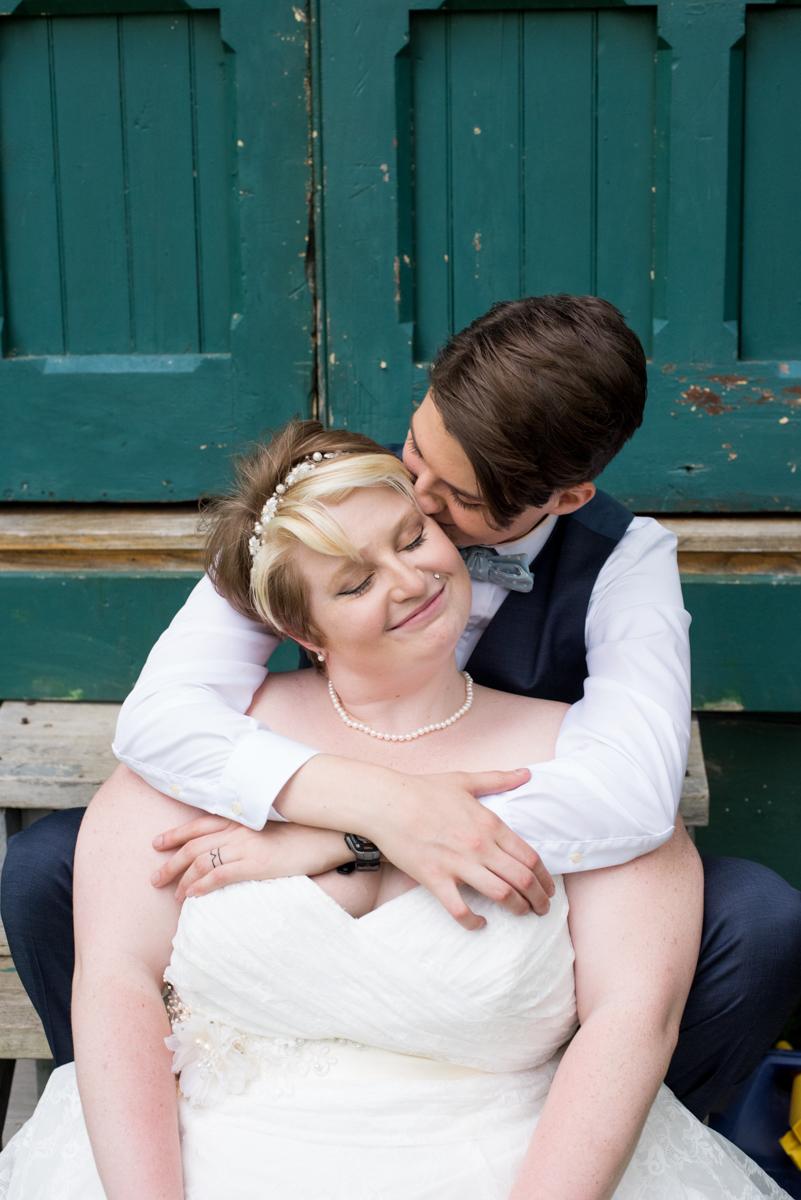 saratoga springs wedding embrace outside barn