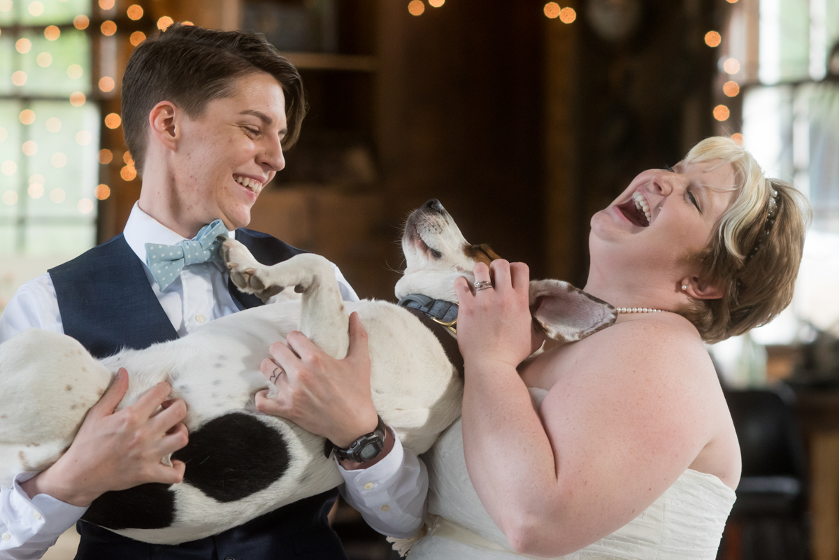 saratoga springs wedding couple laughing as they pet dog