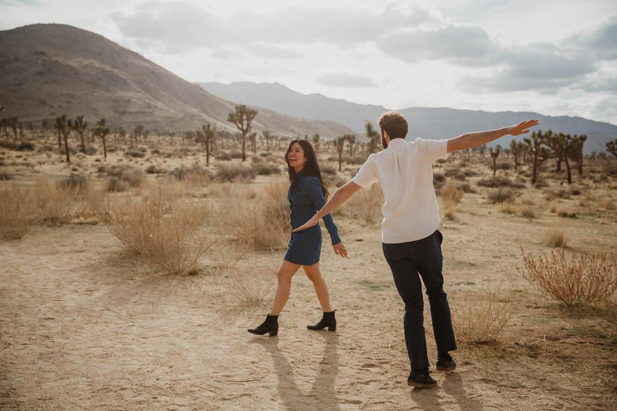 joshua tree california engagement session matt and eda outside in desert