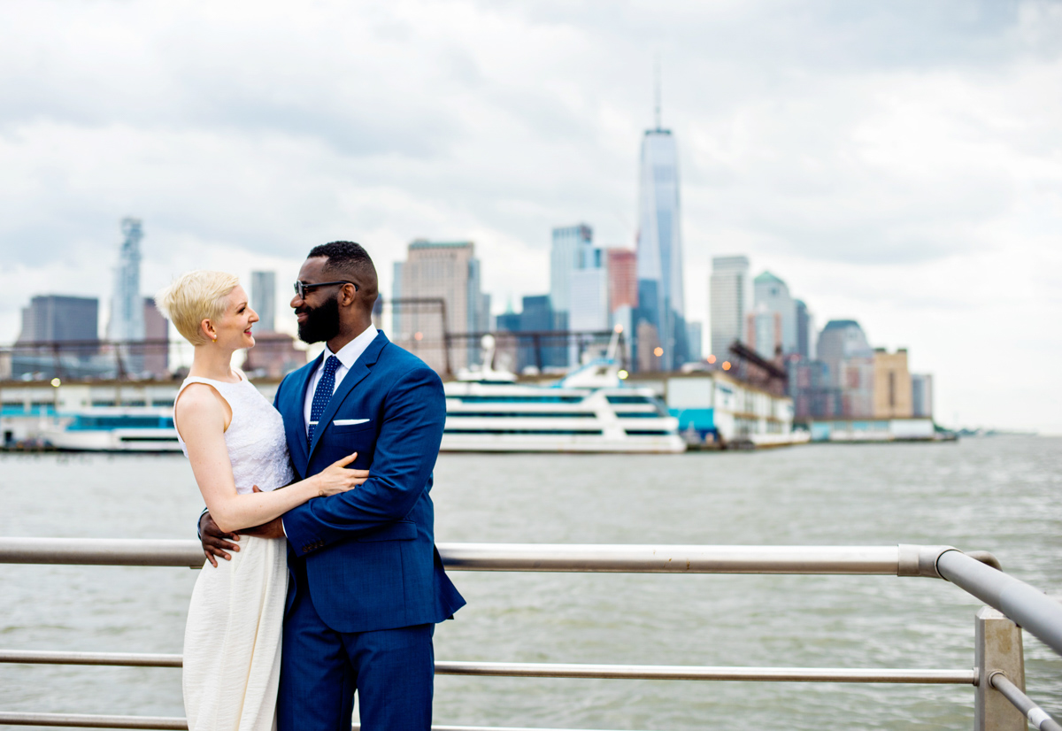 intimate new york elopement embrace on pier