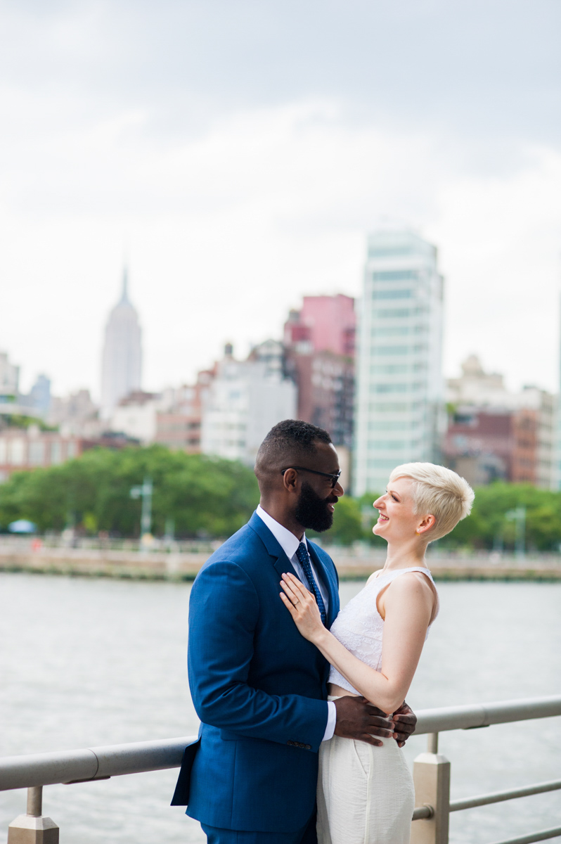 intimate new york elopement embrace with couple smiling