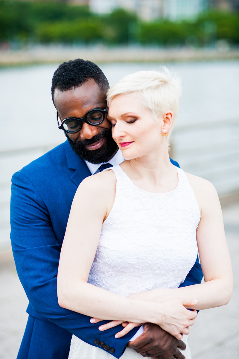 intimate new york elopement teddy holding vanessa from behind