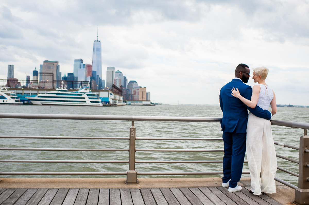 intimate new york elopement teddy and vanessa looking over river