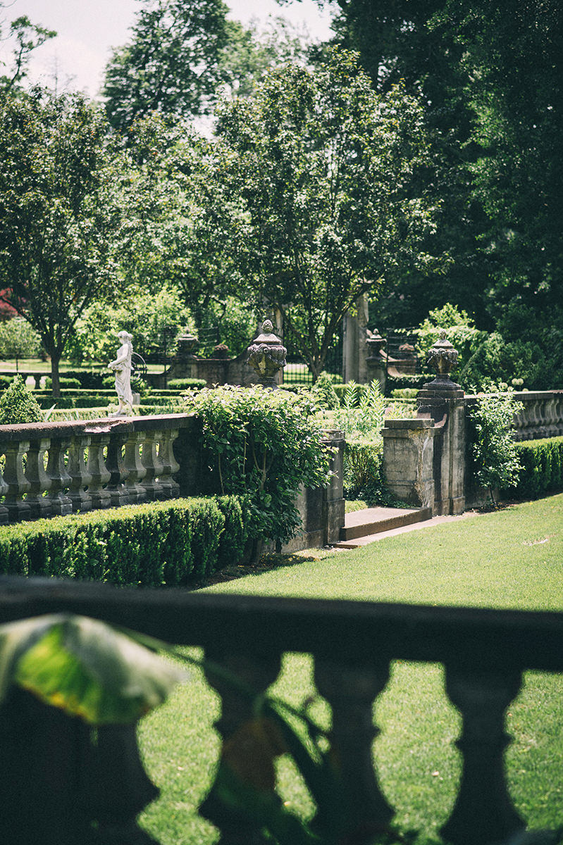 Garden wedding louisville kentucky garden with stone banisters and statue
