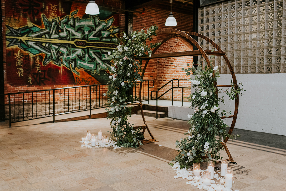 baltimore photo shoot altar arch with graffitied brick in background