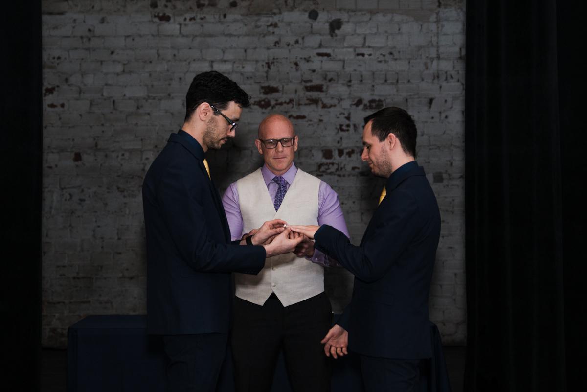 rialto theatre wedding exchanging rings