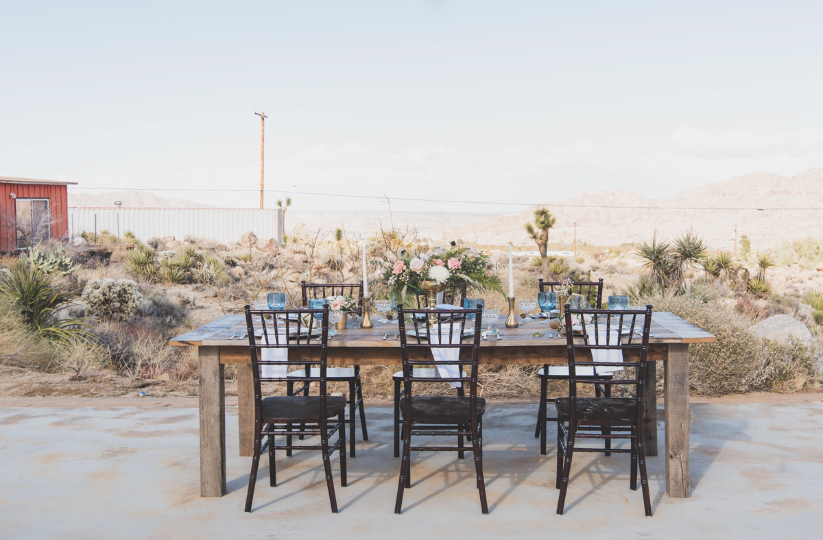 multi-cultural desert elopement small table on patio