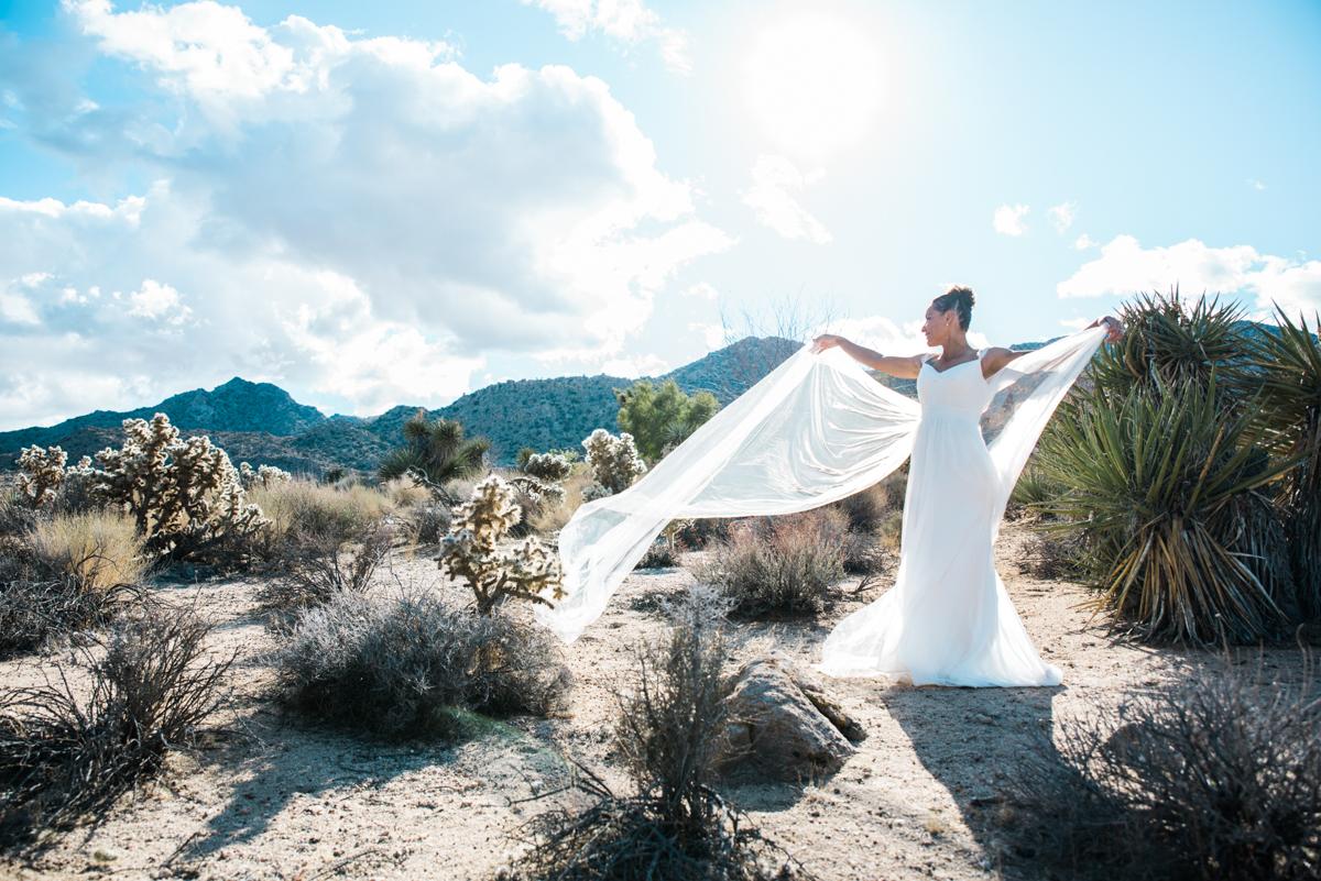 multi-cultural desert elopement second bride standing in desert holding flowing train