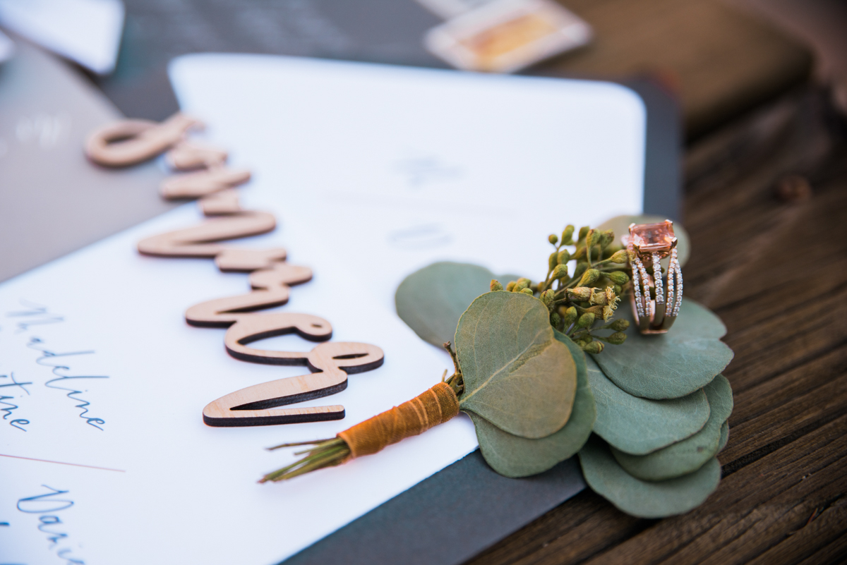 multi-cultural desert elopement close of ring and small plant bound in ribbon