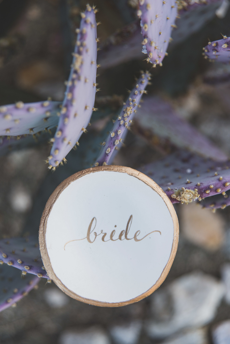 """multi-cultural desert elopement circle plate reading """"bride"""" by cacti"""